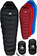 Hyke & Byke Snowmass 0 Degree F 650 Fill Power Hydrophobic Down Sleeping Bag with ClusterLoft Base - Ultra Lightweight 4 Season Men's and Women's Mummy Bag Designed for Cold Weather Backpacking