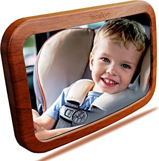 Baby Mirror for Car   Baby Car Mirror   Huge Wide-Angled Without Shaking   Rear Facing Baby View Mirror   Baby Back Seat Mirror   No Assembly Required   TPU Soft Frame by Facekyo (Red Oak Printing)