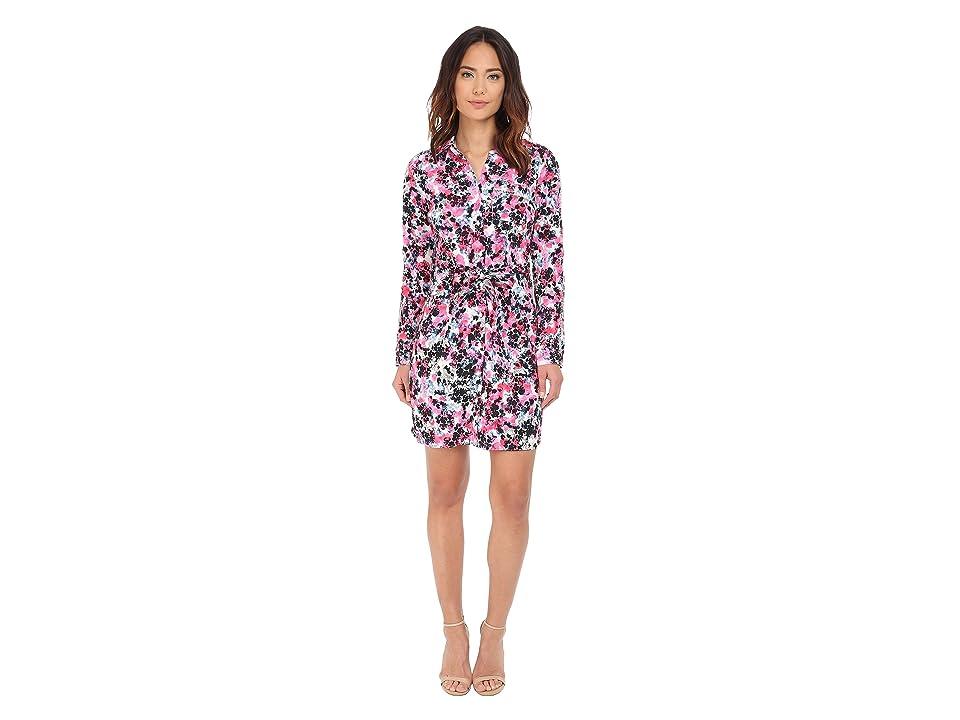 NYDJ Kelsie Washed Crepe De Chine Shirtdress (Parfait Fusion Coral/Fusion Coral) Women