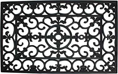 J & M Home Fashions Wrought Iron Natural Rubber Doormat, 24-Inch by 36-Inch