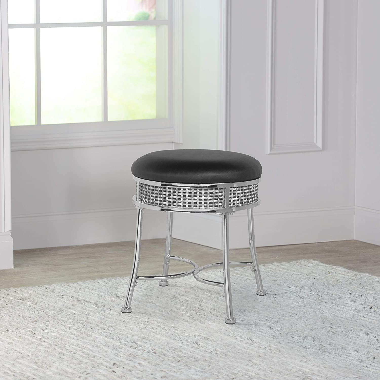 Hillsdale Venice Max 85% OFF Glam Award-winning store Backless Metal Faux Stool Black Vanity Cry