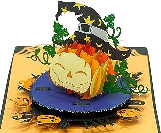 CUTPOPUP Pumpkin Halloween Pop Up Cards, Vintage Thank You Happy Halloween Celebration Greeting Cards