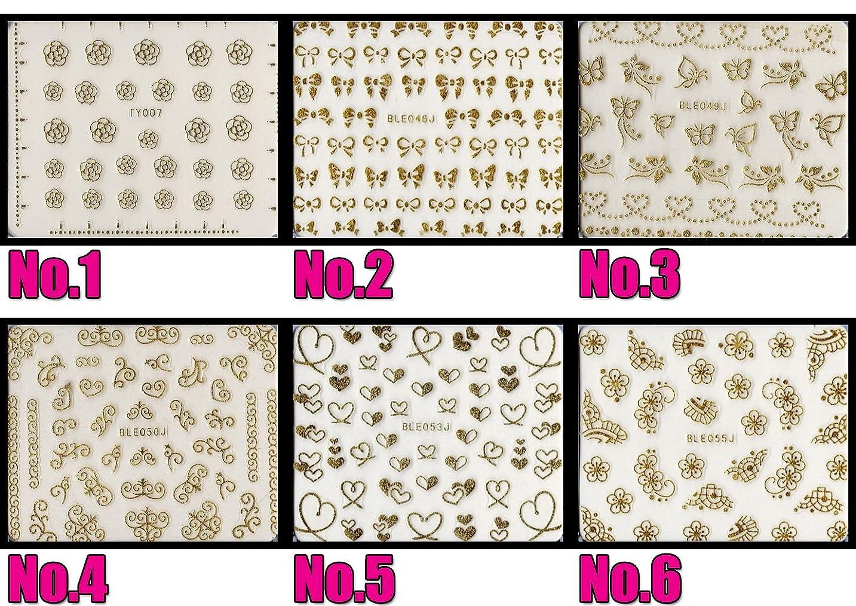 頬骨引っ張る塩ネイルシール メタルパーツ風 選べる20種 (MG02/ゴールド)