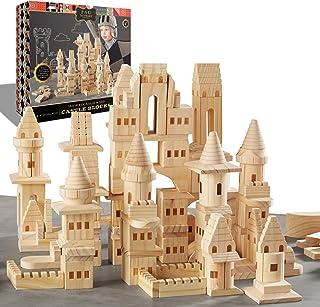 {150 Piece Set} Wooden Castle Building Blocks Set FAO SCHWARZ Toy Solid Pine Wood Block Playset Kit for Kids, Toddlers, Bo...