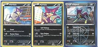 Liepard and Purrloin - Rare Pokemon Card Evolution Set (Plasma Storm #82, #83 and #84)