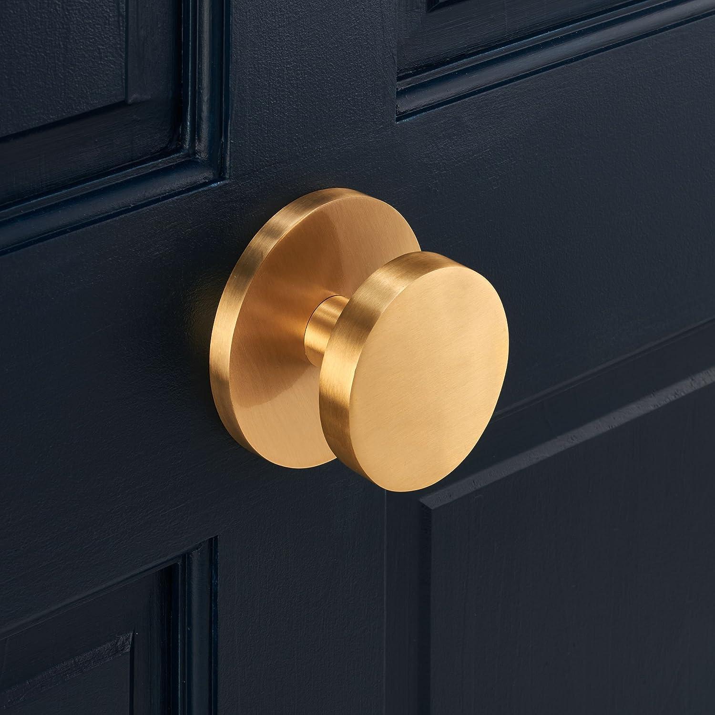 moderno y moderno Pomo de puerta frontal cuadrado de lat/ón macizo de lujo