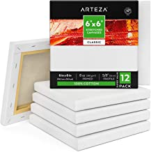 """Arteza 6""""x6"""" Stretched White Blank Canvas, Bulk (Pack of 12), Primed 100% Cotton, for Painting, Acrylic Pouring, Oil Paint..."""