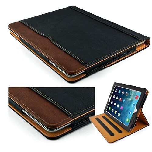7968f040b5 New S-Tech Apple iPad Pro 12.9 Black and Tan Soft Leather Wallet Magnetic  Smart