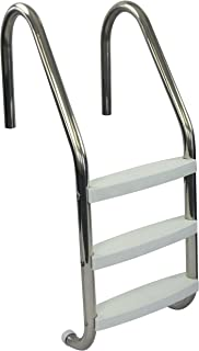 Aqua Select Three Tread Stainless Steel Pool Ladder   Entry and Exit System for In-Ground Swimming Pools   250 Pound Capacity   1.90-Inch Outer Diameter   with Non-Slip Plastic White Steps