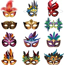 Mardi Gras Masks Paper Masks, Carnival Parade Faux Feather Face Masks Masquerade Party New Orleans Novelty Masks Fantasy f...