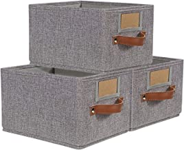 Foldable Storage Baskets for Shelves Set of 3, Fabric Storage Bins with Labels, Decorative Cloth Organizer Storage Boxes, Rectangle Closet Bedroom Drawers Organizers for Home Office 11.4x8.7x6.7