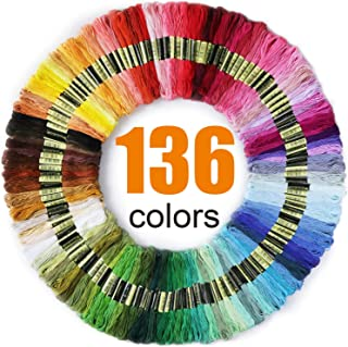 Premium Rainbow Color Embroidery Floss 136 Skeins Per Pack with Cotton for Cross Stitch Threads, Bracelet Yarn, AROIC Craft Floss, Embroidery Floss Set