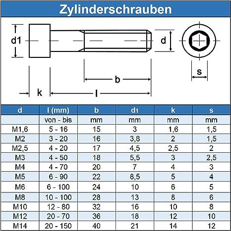 Innensechskant 2,5 mm 10 St/ück Zylinderkopfschrauben DIN 912 A2-70 Edelstahl M 3 x 20 mm Zylinderschrauben