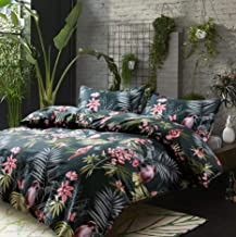 Palm Leaves Duvet Cover and Pillowcases Set Tropical Exotic Island Flowers Trees Branches Paradise Birds Bedding Jungle Pl...