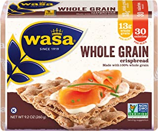 WASA Whole Grain Swedish Crispbread, 9.2 Ounce, All-Natural Crackers, Non-GMO Ingredients, Fat Free, No Saturated Fat, 0g ...