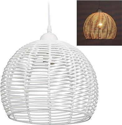 Relaxdays 10028383 Lampe en rotin, plafonnier, suspension, salon, salle à manger, Douille E27,40 W, 1 ampoule HxD 120x28 cm,blanc, métal, plastique, 120 x 28 x 28 cm