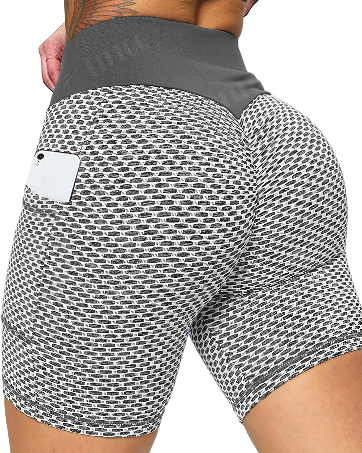 New item FITTOO High Waisted Biker Shorts with Pocket S Women for outlet Workout
