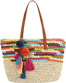 Large Straw Beach Tote Bag with Pom Poms and Inner Pouch -Vegan Leather Handles