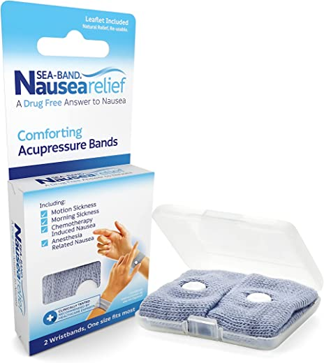 Sea-Band Anti-Nausea Acupressure Wristband for Motion or Morning Sickness, Adult, Pack of...