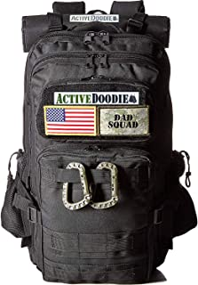 ActiveDoodie Dad Diaper Bag Backpack, Changing Pad, Stroller Straps and Insulated Bottle Holder, Daddy Baby Bag, Tactical Adventure Bag for Dads (Dad Squad Velcro Patches, Large)