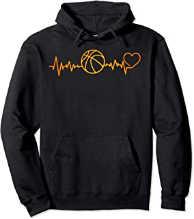 I Love Basketball Heartbeat Basketball Player or Coach Gift Pullover Hoodie