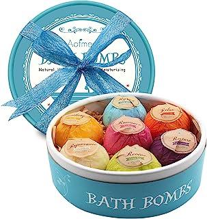 Bombas de Baño, Aofmee Bomba de Baño Set de Regalo, Bolas Baño Efervescentes Aromaterapia Baño Relajante, Regalo Cumpleaños Valentin dia de la Madre Aniversario Navidad para Mujer Amigas Niños Esposas