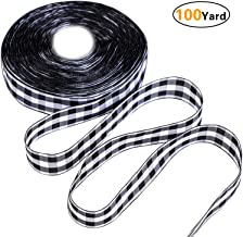 Onene 100 Yards 1.5 Inches Black and White Plaid Burlap Ribbon Christmas Wrapping Ribbon Gingham Plaid Ribbon for DIY Crafts Decoration, Floral Bows