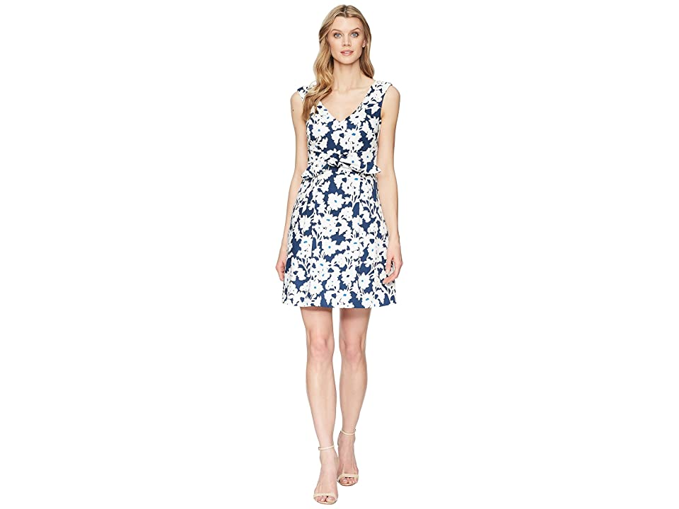 Adrianna Papell Daisy Field Fit and Flare Dress (Navy/Ivory Multi) Women