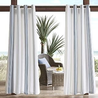 Madison Park Navy Door, Contemporary Fabric Light Outdoor, Newport Striped Modern Window Curtains, 54X84, 1-Panel Pack, 54