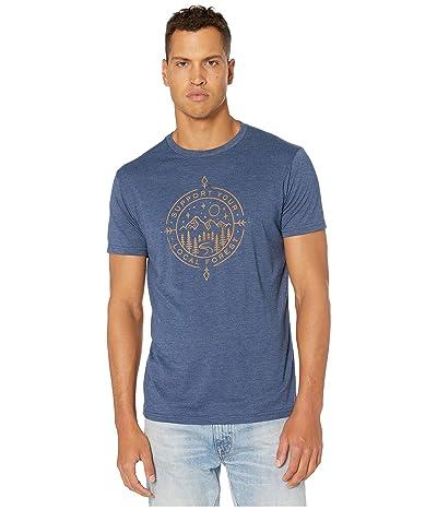 tentree Support Short Sleeve Tee (Dark Ocean Blue Heather) Men