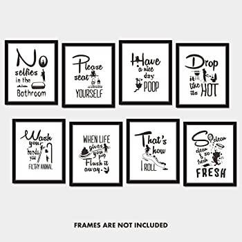 """Hebayy 8X Bathroom Art Picture Quotes Wall Décor Accessories Laminated and Flat Pack (Each Measures 10"""" X 8"""")"""