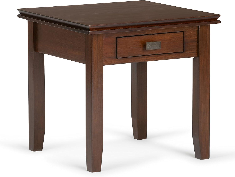 Simpli Home Artisan Solid Wood End Table, Medium Auburn Brown