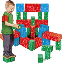 Cardboard Building Block, EXERCISE N PLAY 40pcs Extra-Thick Jumbo Giant Building Blocks in 3 Sizes for Kids