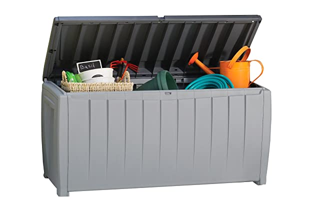 Bon Keter Novel Plastic Deck Storage Container Box Outdoor Patio Garden  Furniture 90 Gal, Black