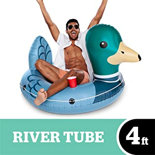 BigMouth Inc Driftin' Duck River Raft, Giant Inflatable River Tube with Rope, Funny Float