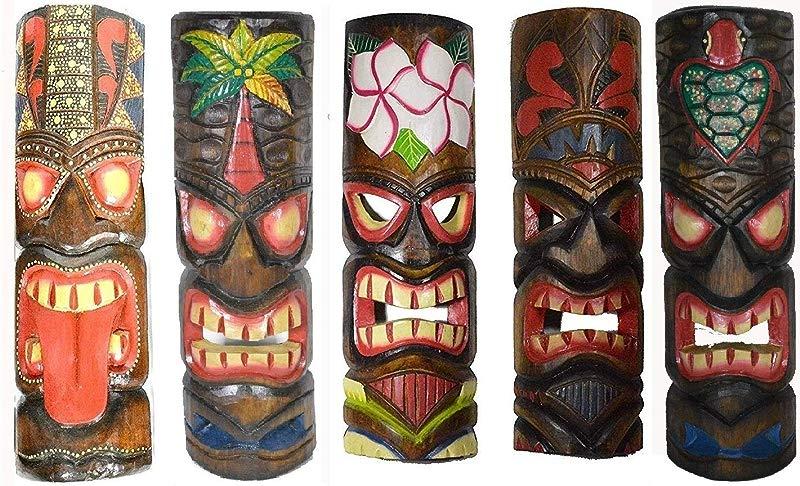 20 Large Set Of 5 Polynesian Hawaiian Tiki Style Wall Masks