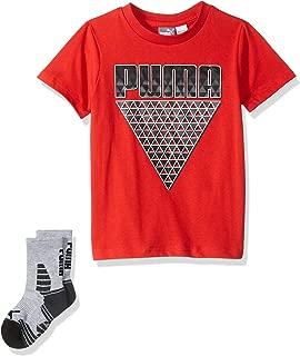 PUMA Boys 71195886TME-P612 Boys' T-Shirt & Sock Set Short Sleeve T-Shirt - red