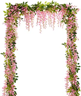 Lvydec Wisteria Artificial Flowers Garland, 4 Pcs Total 28.8ft Artificial Wisteria Vine Silk Hanging Flower for Home Garden Outdoor Ceremony Wedding Arch Floral Decor (Pink)