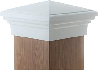 8x8 Post Cap   White New England Pyramid Style Square Top for Outdoor Fences, Mailboxes & Decks, by Atlanta Post Caps