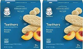 Gerber Teethers Gentle Teething Wafers, Banana Peach, 1.7 OZ (Pack of 2)