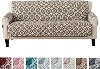 Great Bay Home Reversible Couch Cover for 3 Cushion Couch. Printed Sofa Covers for Living Room with Secure Straps. Protect from Kids, Dogs and Pets. (74