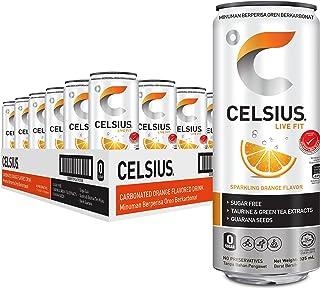 Celsius Sparkling Orange Flavour Carbonated Fitness Drink (24 Cans),
