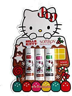Softlips (1) 3pc Pack Hello Kitty Limited Edition Natural Lip Balm Set - Holiday Flavors: Gingerbread, Apple Cider, Cherry Cordial - Net Wt. 0.15 oz eac.