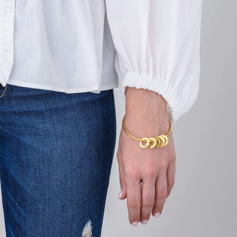 MyNameNecklace Personalized Bracelet Bangle with Circle Disc Pendants - Custom Multiple Pendant Jewelry