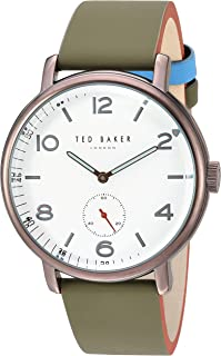 Ted Baker Men's Harry Quartz Watch with Leather Strap, Green, 19.7 (Model: TE50372001)