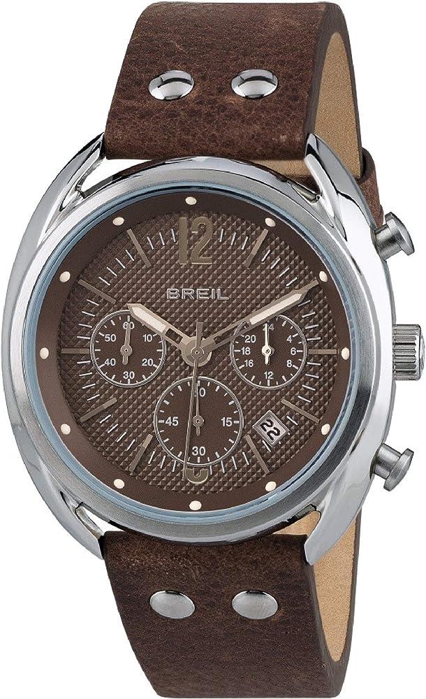 Breil orologio cronografo per uomo con cassa in acciaio inossidabile e cinturino in vera pelle TW1663