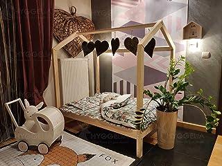 Hyggelia Mon lit cabane lit de Maison sans barrières lit en Bois Bonnie pour Enfants, pour Adolescents, lit Cottage, Haute...