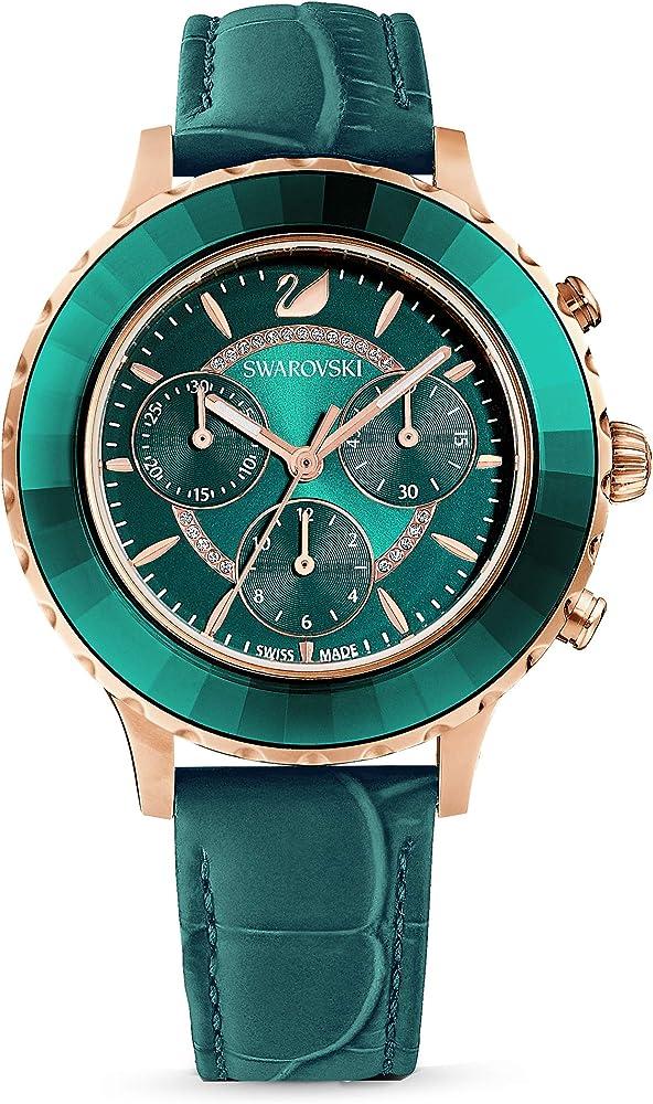 Swarovski orologio cronografo collezione octea da donna in acciaio e pelle 5452498