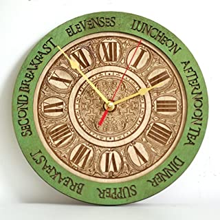 Personalized Meal times wooden wall clock, unique kitchen vintage style decor, emerald green, housewarming, Victorian, gift, wall decor, Anniversary Gift, meal planning, kitchen clocks wall