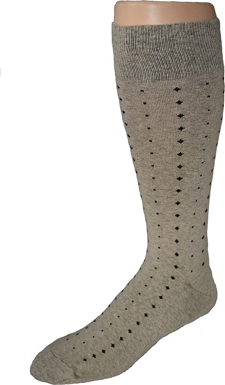 Men's Big and Tall Patterned Cotton Blend Dress Socks - 2pr Pack - Khaki
